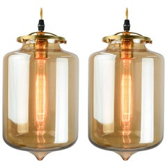 Magnificent Pair of Golden Hanging Pendants