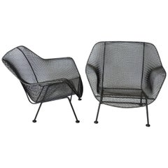 Pair of Bronze Finish Woodard Wrought Iron Lounge Chairs