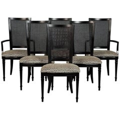 Set of Six Louis XVI Style Cane Back Dining Chairs