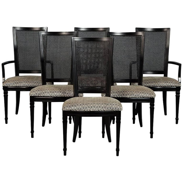 Set Of Six Louis Xvi Style Cane Back Dining Chairs For