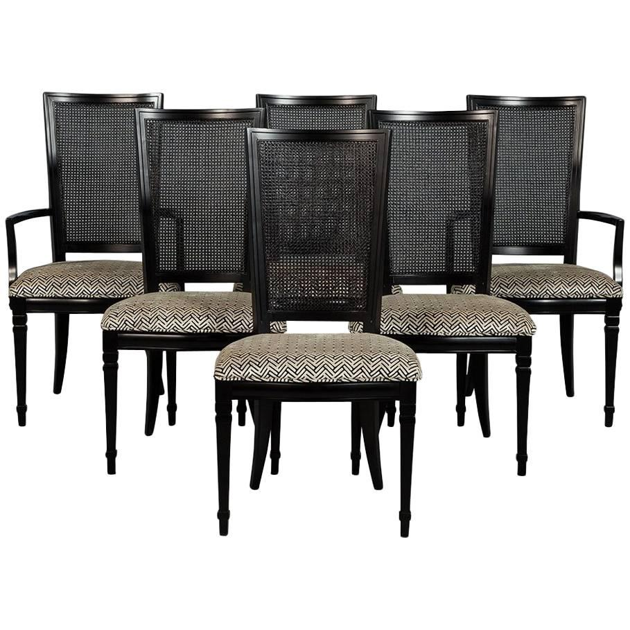 Set Of Six Louis XVI Style Cane Back Dining Chairs For Sale