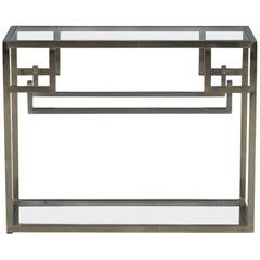 Vintage Polished Stainless Steel Modern Console Table