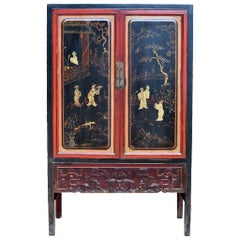 Antique Black and Red Cabinet, with Gilded Paintings and Carvings