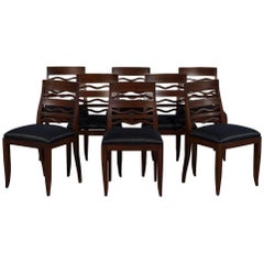 Set of Eight Art Deco 1940s Dining Chairs with Wave Back Feature