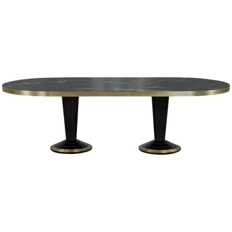 Custom oval modern titanium marble top dining table for Custom made marble dining tables