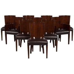 Set of Ten Rich Brown Lacquered Leather Dining Chairs