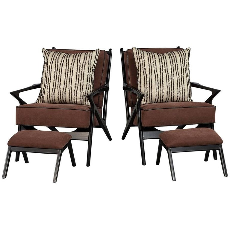 Pair of Black Wood Frame Slat Back Chairs with Ottomans