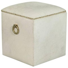 White Hair on Hide Storage Ottoman