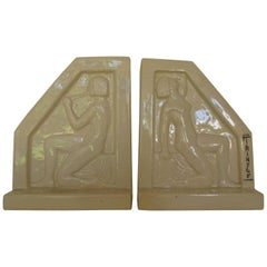 1924, French Art Deco Ceramic Bookends by F Trinque