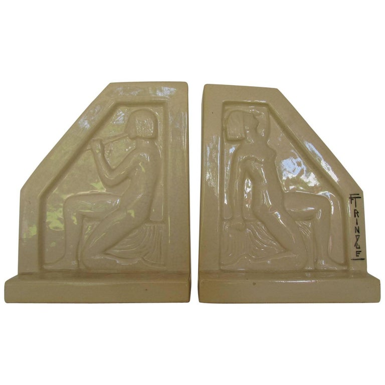 1924, French Art Deco Ceramic Bookends by F Trinque 1