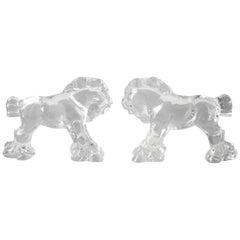 Pair of 1930s Steuben Glass Sculptures of Horses