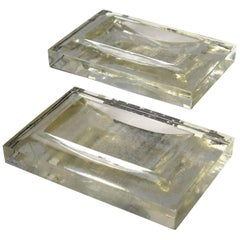 Pair of Large Glass Steuben Ashtrays