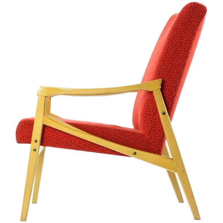 Mid-Century Armchair in Original Red Upholstery, Interier Praha, Czechoslovakia For Sale