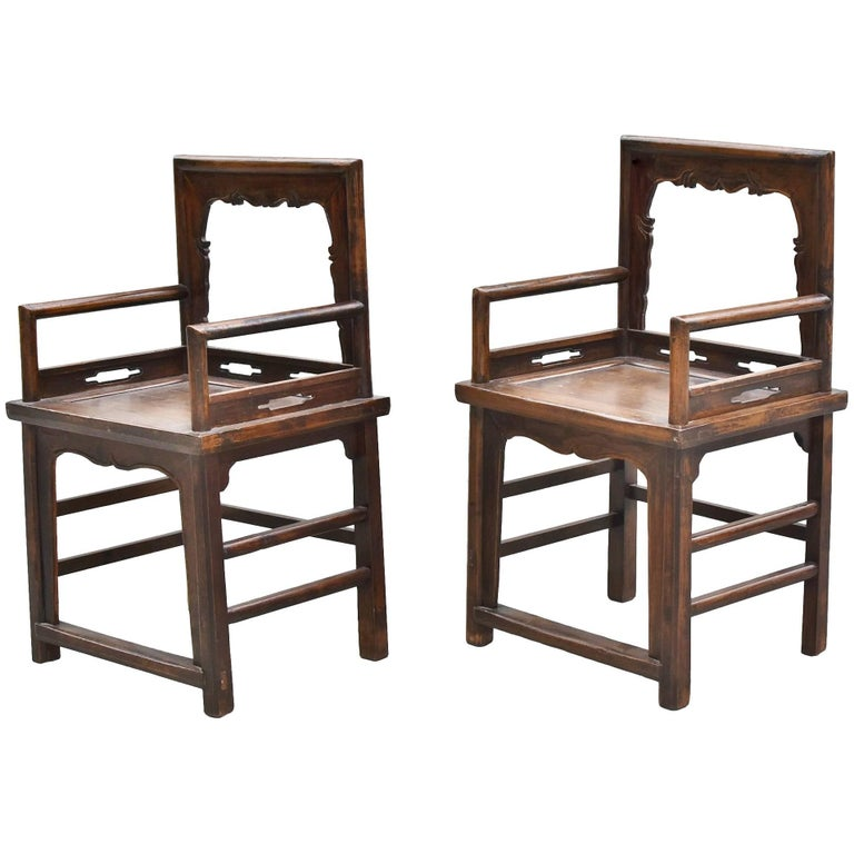 Pair of antique rose chairs chinese ming style armchairs for Chinese style furniture for sale