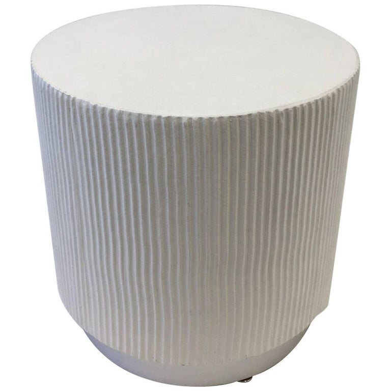 White Lacquer and Brushed Aluminium Drum Side Table by Steve Chase