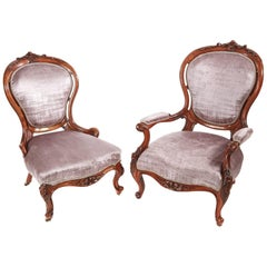 Fine Pair of Victorian Carved Walnut Chairs