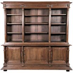 19th Century French Henri II Walnut Bibliotheque or Bookcase