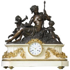 """Allegory of Autumn"", Large Bronze and Marble French Mantel Clock"