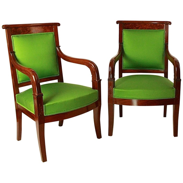 Pair of Empire Mahogany Armchairs in the Manner of Jacob Desmalter For Sale