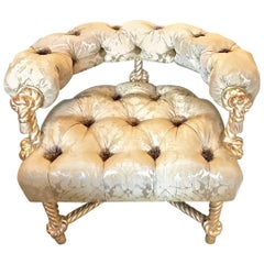 Napoleon III-Style Gilt Rope Carved Chair in Diamond Tufting