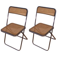 Castelli Style Chrome and Cane Pair of Folding Chairs