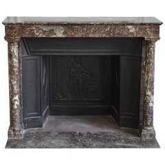 Antique Empire Fireplace with Columns and Its Complete Cast Iron Insert