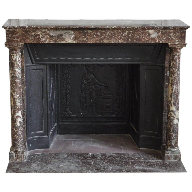 Antique Empire Fireplace With Columns And Its Complete Cast Iron Insert For Sale At 1stdibs