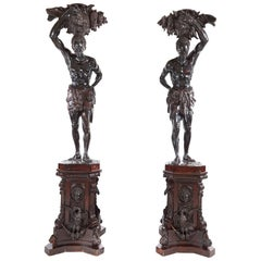 Exhibition Quality Pair of Antique Life Size Blackamoor Figures
