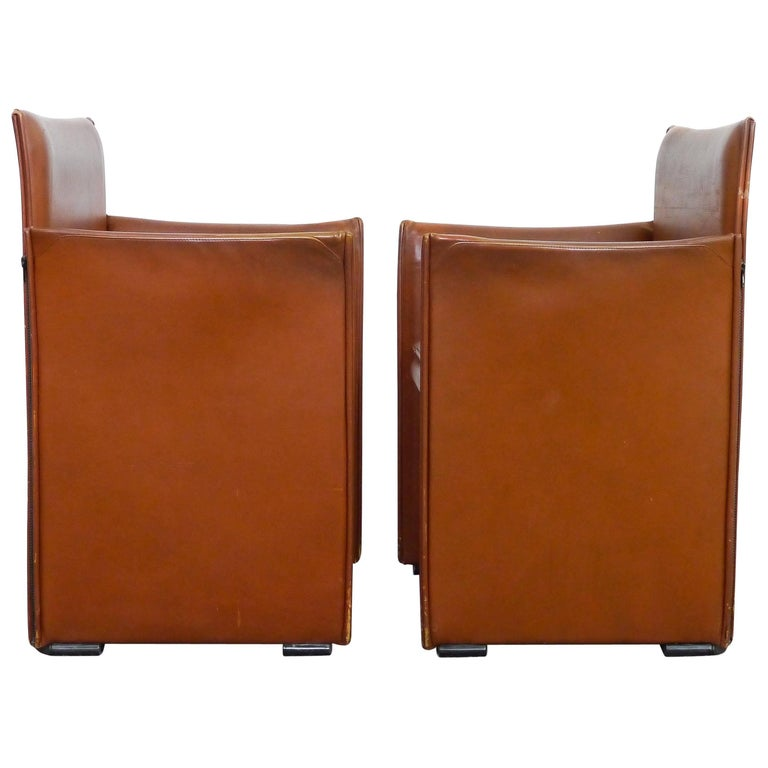 Pair of Armchairs in Brown Leather by Mario Bellini / Cassina
