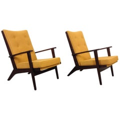 Pair of Midcentury Parker-Knoll Lounge Chairs or Armchairs with yellow fabrics