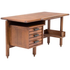 Guillerme et Chambron Desk in Oak with Ceramic Drawer Pulls, French, 1960s