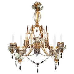 Italian Painted and Gilt Tole and Crystal Six-Light Grotto Chandelier