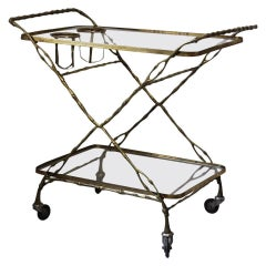 Unusual Naturalistically Styled Bamboo Drinks Trolley
