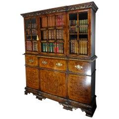 George First Style Burr Walnut Secretaire Bookcase