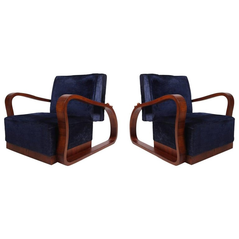 Pair of Adjustable Art Deco Lounge Chairs in Blue Velvet For Sale