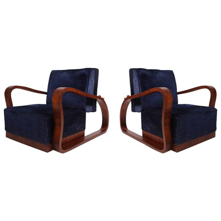 Pair of Adjustable Art Deco Lounge Chairs in Blue Velvet 1