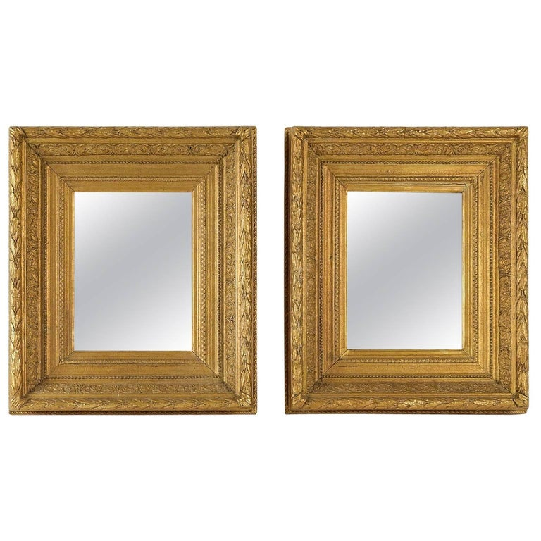 French Mid-19th Century Pair of Giltwood Mirror, circa 1860