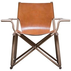 Handmade Oak and Bark Tanned Leather Dram Chair by Gareth Neal the New Craftsmen