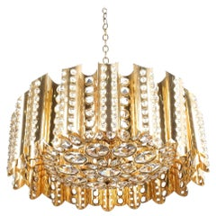 Large Gold-Plated Brass Glass Chandelier Lamp Attributed to Gaetano Sciolari