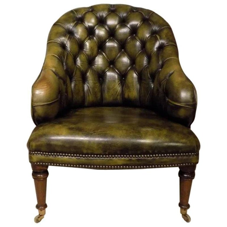 Green Leather Deep Buttoned Victorian Period Antique Tub Chair For Sale - Green Leather Deep Buttoned Victorian Period Antique Tub Chair At