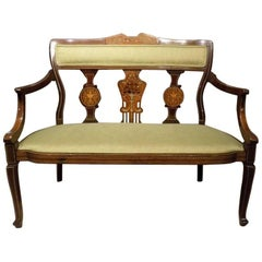 Fine Quality Mahogany Inlaid Edwardian Period Settee
