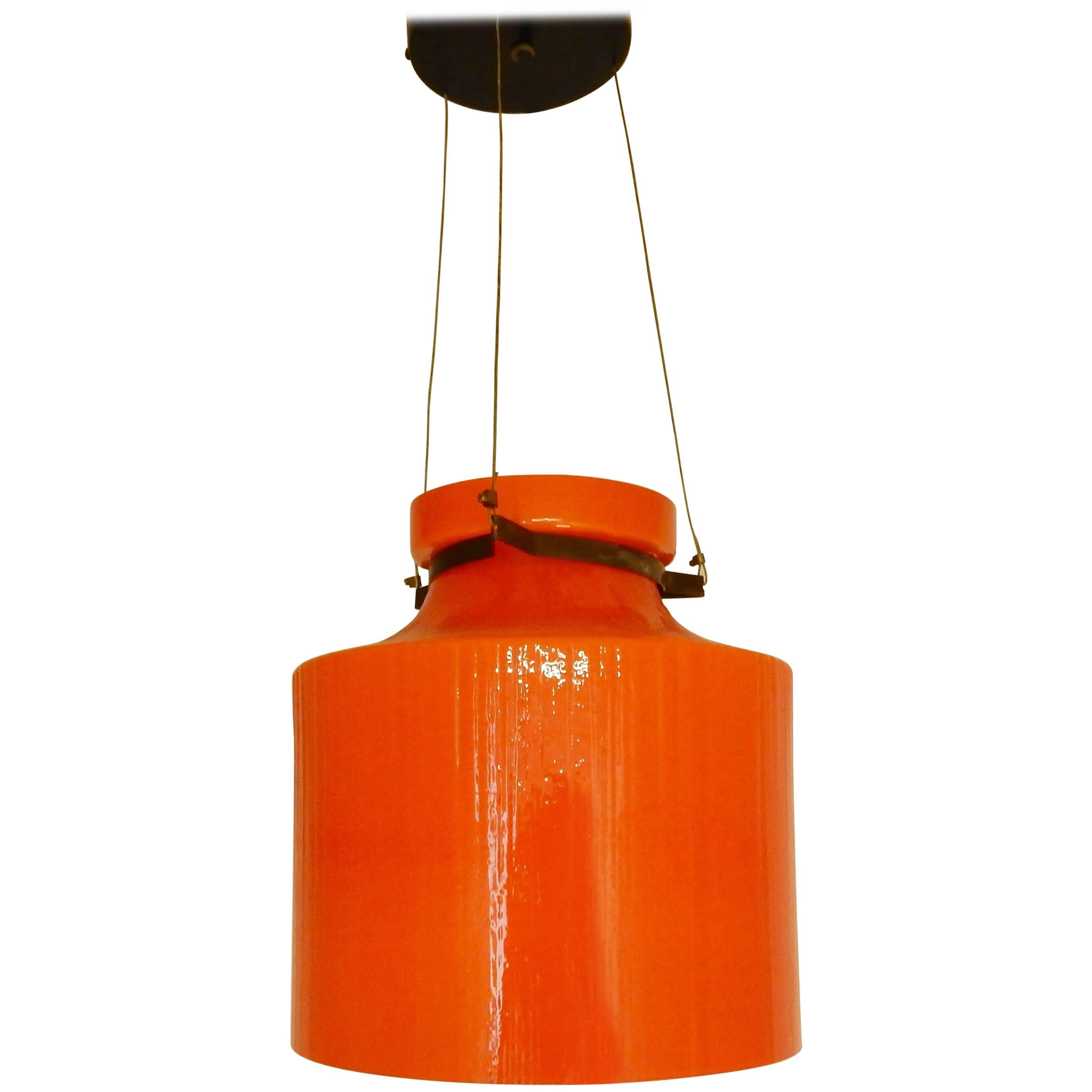 Ripple Structure Glass Pendant Light from Indoor, Netherlands, Early 1970s