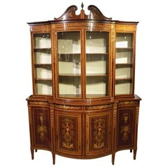 Exhibition Quality Serpentine Mahogany Display Cabinet by Edwards and Roberts