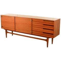 Distinguished Mid-Century Satinwood and Brass Sideboard with Duotone Drawers