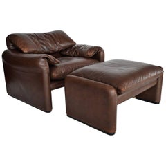 Cassina Maralunga Leather Lounge Chair and Ottoman by Magistretti, Italy, 1974