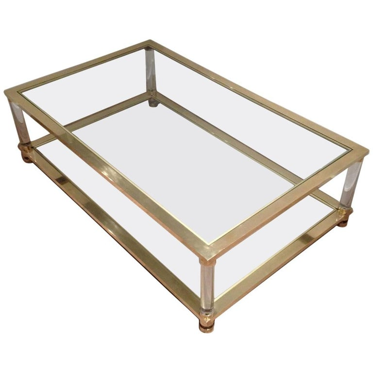 Large brass and lucite coffee table for sale at 1stdibs for Lucite and brass coffee table