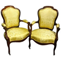 Superb Quality Pair of French 19th Century Rosewood Elbow Chairs