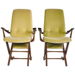 Pair of Velvet Armchairs with High Back in Varnished Exotic Wood