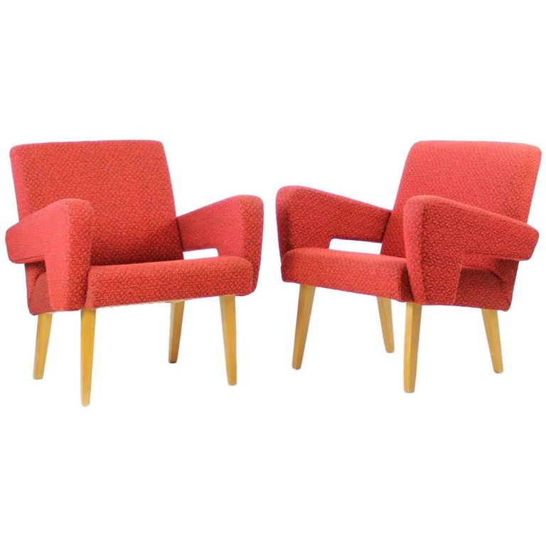 Red Mid-Century Armchair by Jitona in Original Upholstery, Czechoslovakia