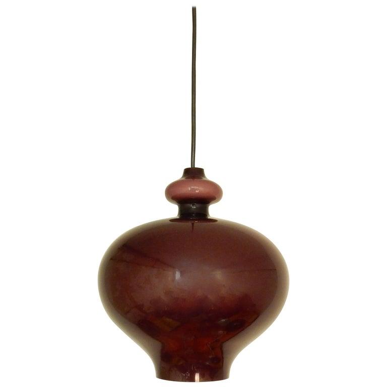 Purple Glass Pendant Lamp by Hans Agne Jakobsson, Sweden, 1960s